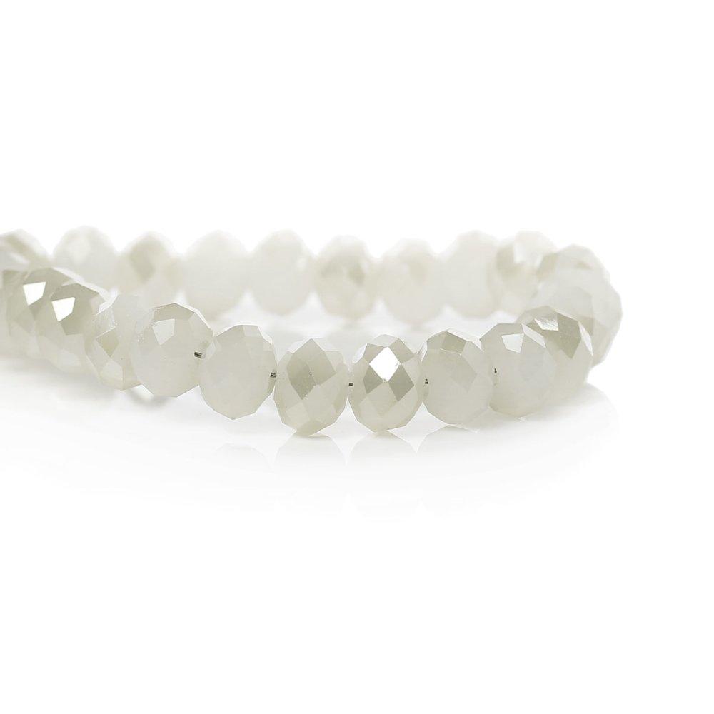 5  Perles en Verre Blanc à facettes 6mm