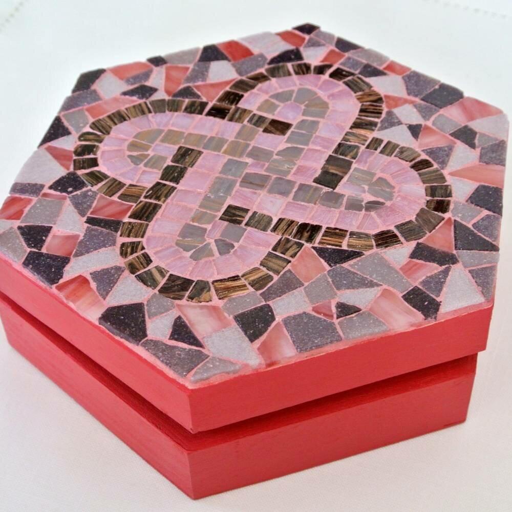 Boite Mosaïque, rose, hexagonale, home déco