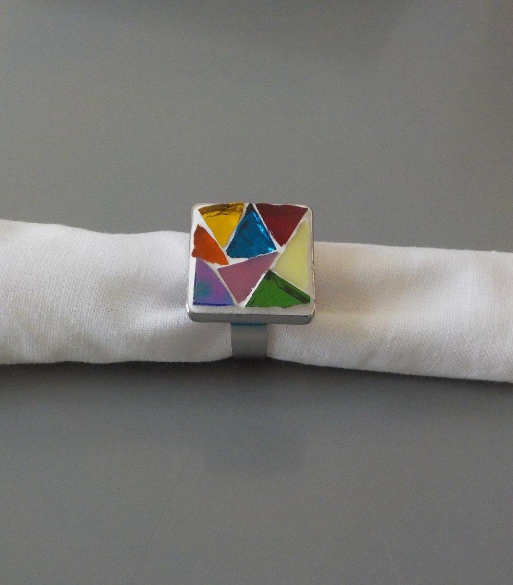 Bague ajustable, mosaïque, multicolore, fait main