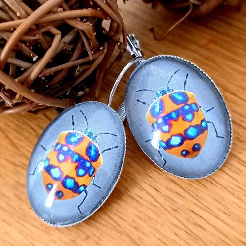 Boucles d'oreilles cabochons en verre inspiration japonaise