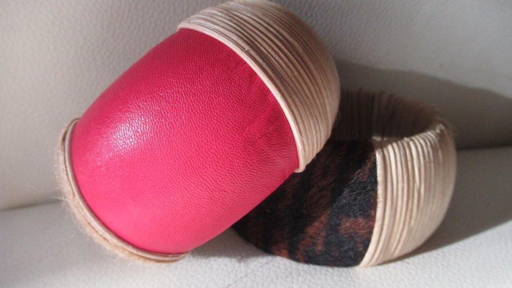 Bracelet en cuir véritable rose,  bijou en bois , cuir