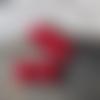 6 perles intercalaires coloris rouge pourpre, verre filé au chalumeau dans mon atelier