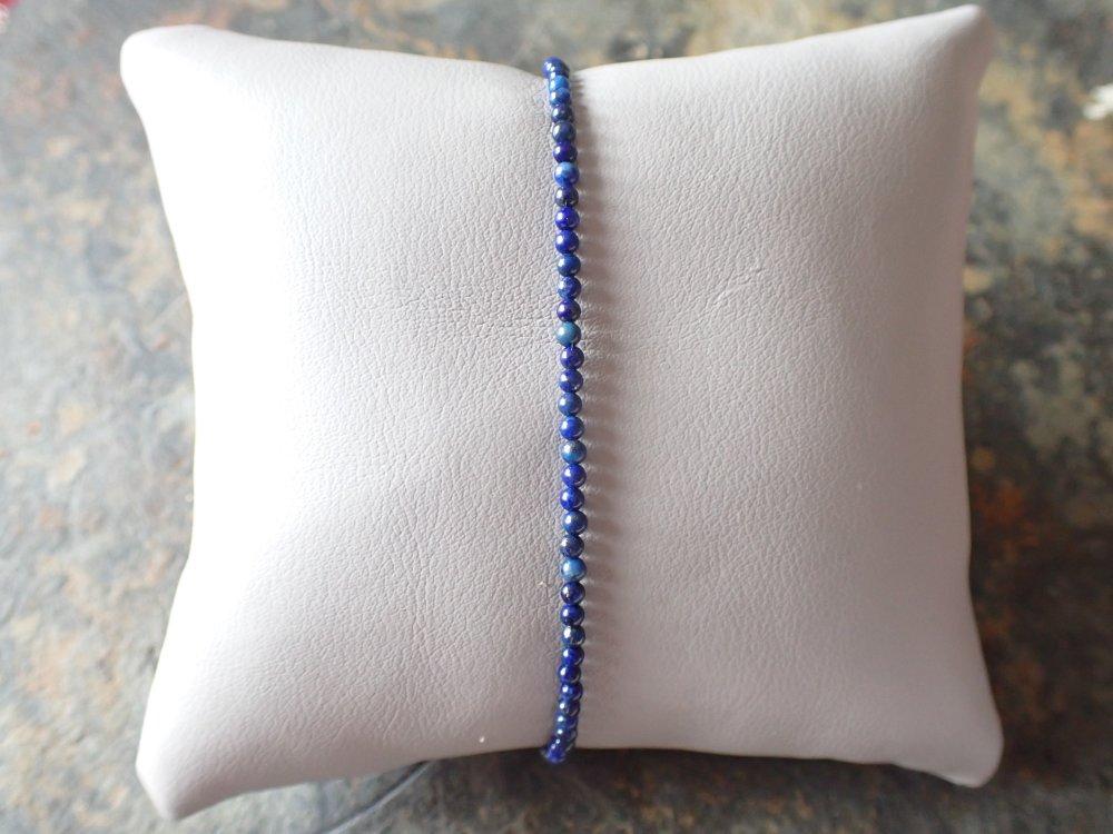 Bracelet Argent 925  et Lapis Lazuli bleu nuit