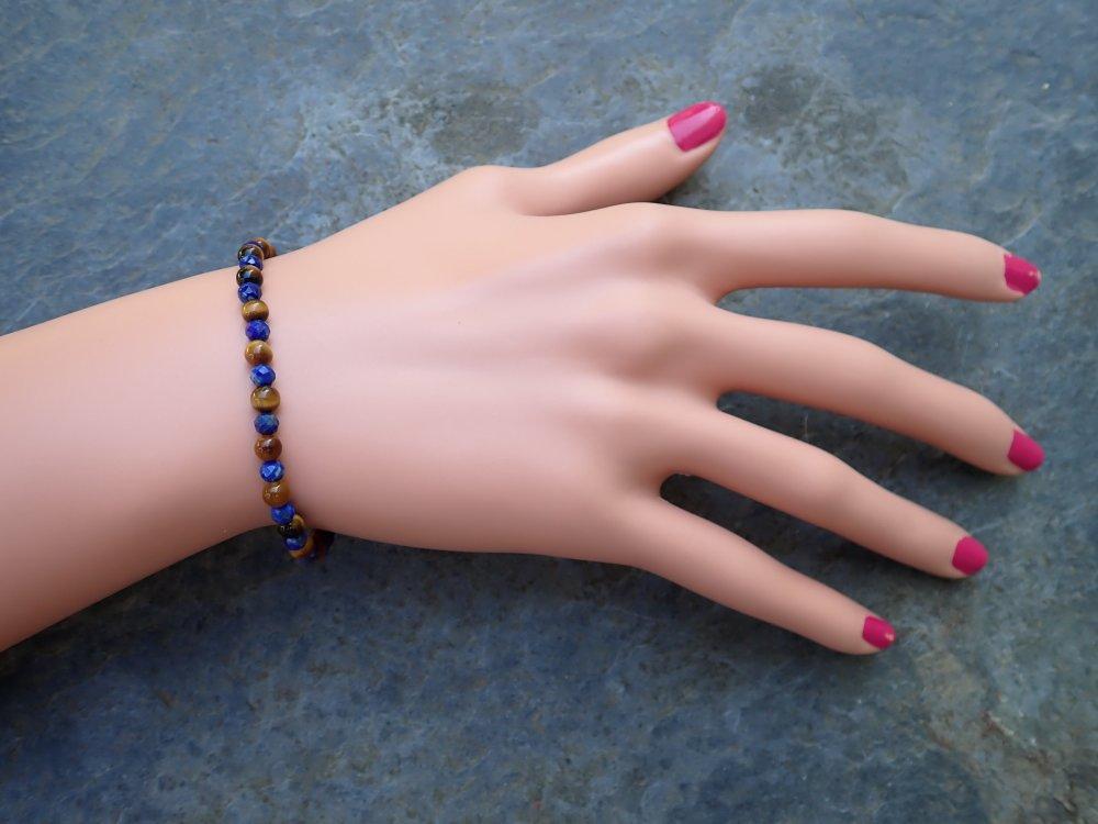 Délicat bracelet lapis Lazuli, oeil de Tigre Argent 925