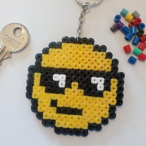 Porte Clés Pixel Art En Perles Hama Emoji Bain De Soleil été