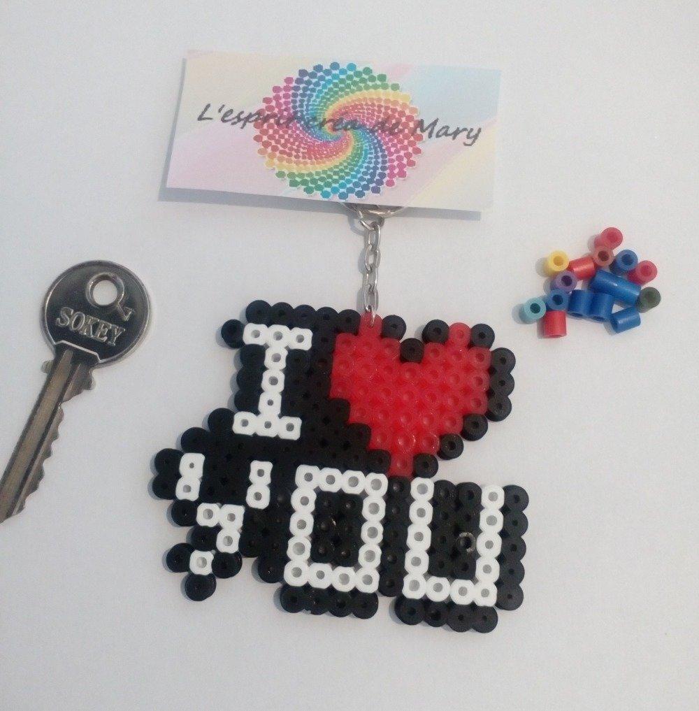 Porte Clés Pixel Art En Perles Hama Coeur I Love You Idéal Comme Cadeau De St Valentin Fête Des Mères Des Pères