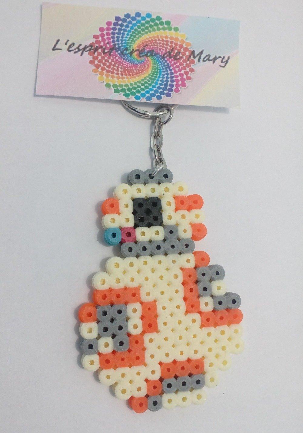 Porte Clés Pixel Art En Perles Hama Robot Bb8 Dans Star Wars