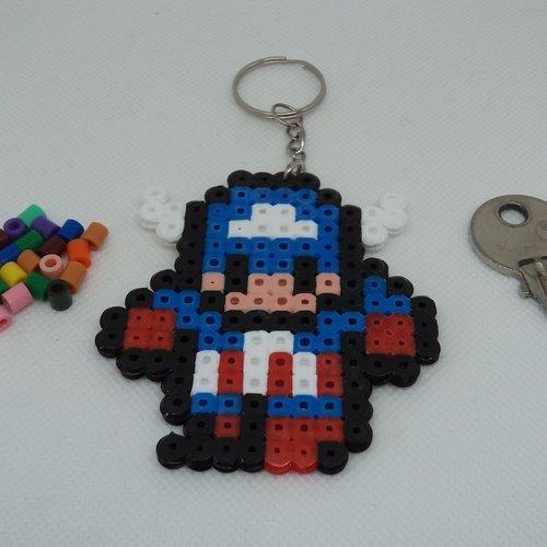 Porte Clés En Perles Hama Pixel Art Super Héro Avengers Captain America Idéal Cadeau Danniversaire