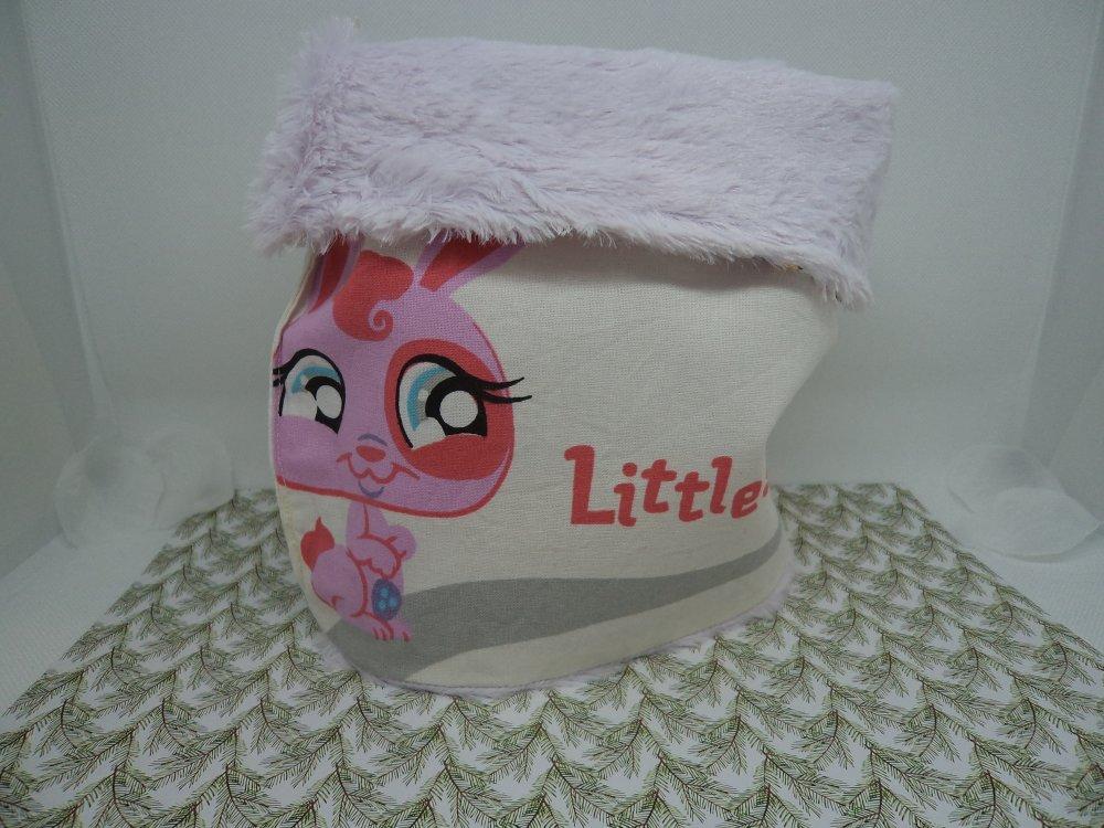 Tour De Cou Snood Enfant Bébé Snood Fille Chenille Lapin Trop Mignon Tissu Coton Blanc Et Coloré Et Minkee Rose Pastel