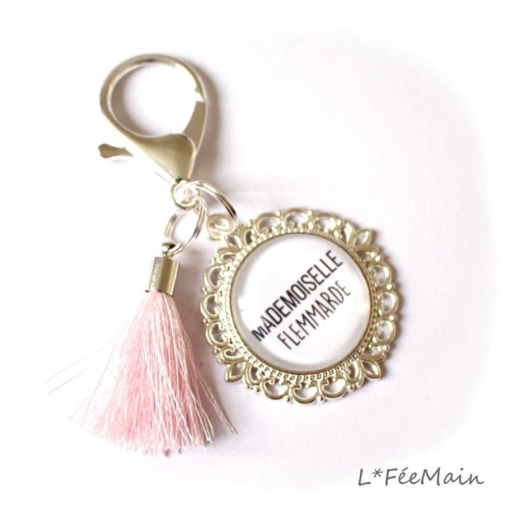 Porte Clés à message « Mademoiselle Flemmarde »
