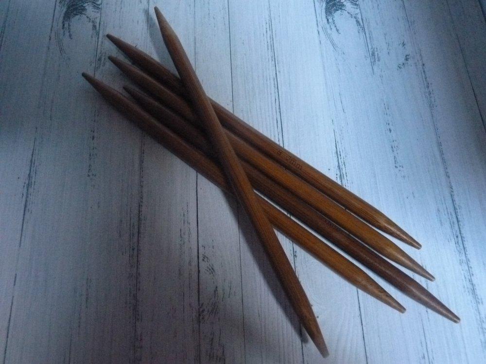 5 Aiguilles doubles pointes en bambou n°3.5