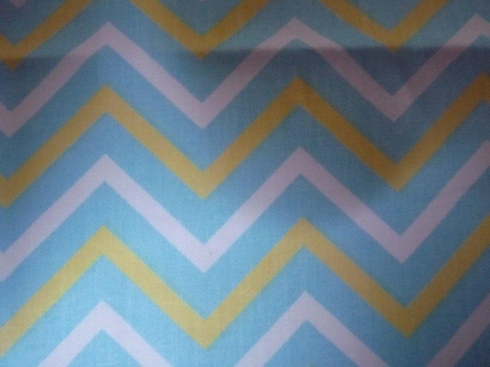 Coupon de tissu bleu graphique, coton : 25 X 24 CM