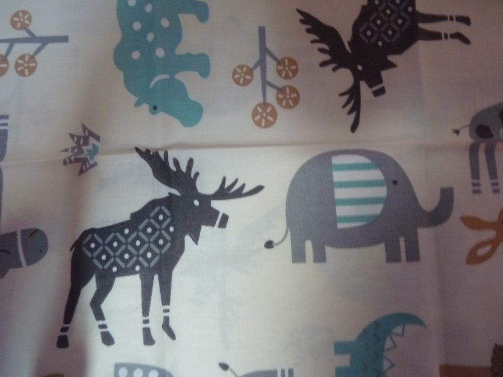 Coupon de tissu animaux, coton : 50 X 50 CM