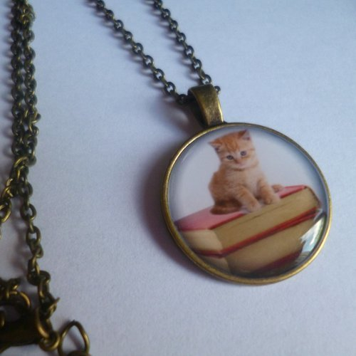 Collier chaîne bronze cabochon gothique, chat roux