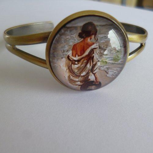 Bracelet jonc style or vieilli cabochon femme mer 25mm