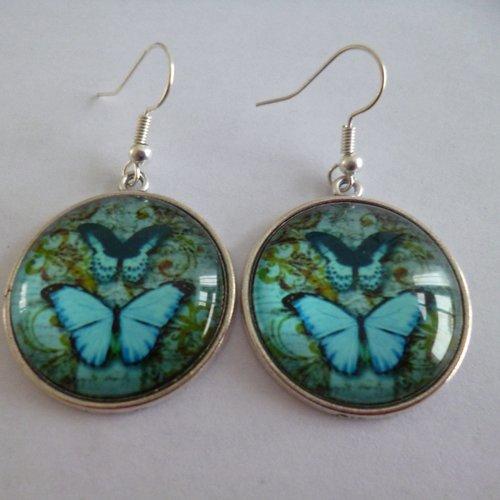 Boucles d'oreilles argent cabochon papillon bleus 25mm