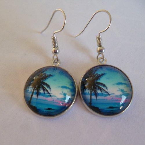 Boucles d'oreilles argent cabochon palmiers 18mm