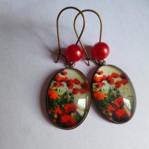 Boucles d'oreilles bronze crochets perles cabochon coquelicots 18*25mm