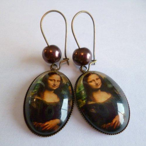 Boucles d'oreilles bronze crochets perles cabochon joconde 18*25mm