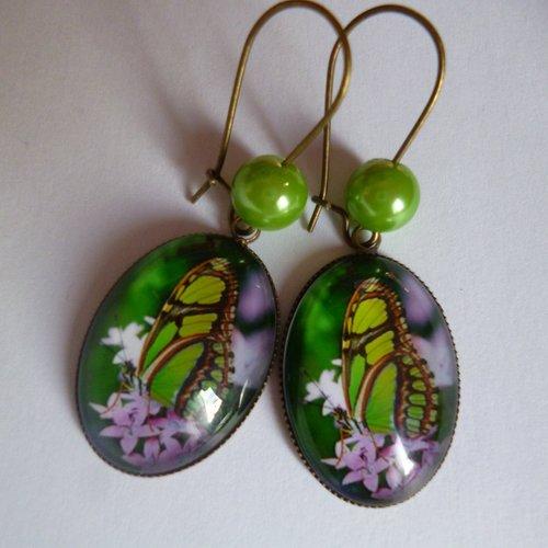 Boucles d'oreilles bronze crochets perles cabochon papillon 18*25mm