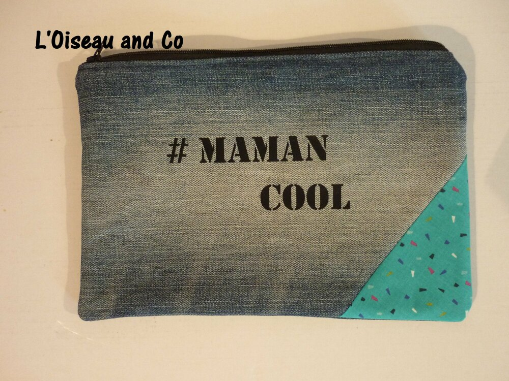 POCHETTE en Jean, doublée coton bleu roi #Maman cool