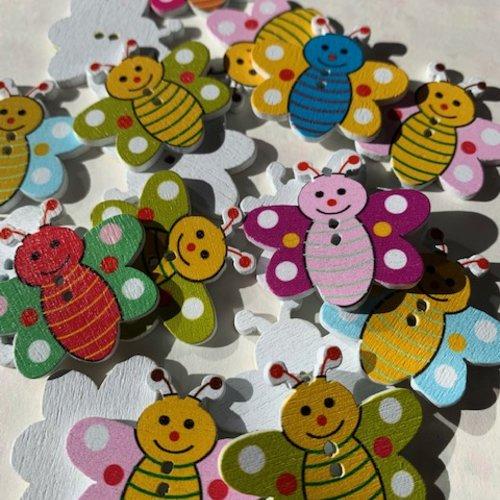 Boutons en bois, scrapbooking, abeilles de toutes couleurs, 13/9 mm, neuf, vente par 4