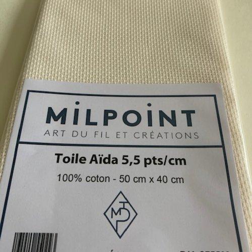 Toile aïda, coton, 5.5 points/cm,  au coupon, couleur : écru,  mesure 50 cm/ 40 cm, vente à l'unité