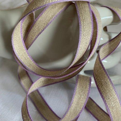 Ruban en lin et coton,  11 mm de large, ton naturel et bordure mauve, lilas, vendu au mètre