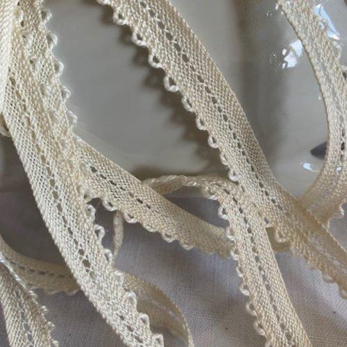 Dentelle en 100 % coton, de couleur écru, lacet à picots, 11 mm de large, produit français, vente au mètre