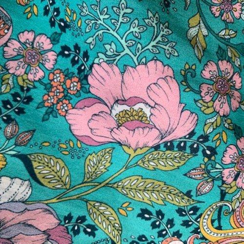 Tissu dashwood studio, ace lawn, même douceur que la soie, tons verts et roses, fleurs oiseaux, vente par 25 cm sur 148 cm