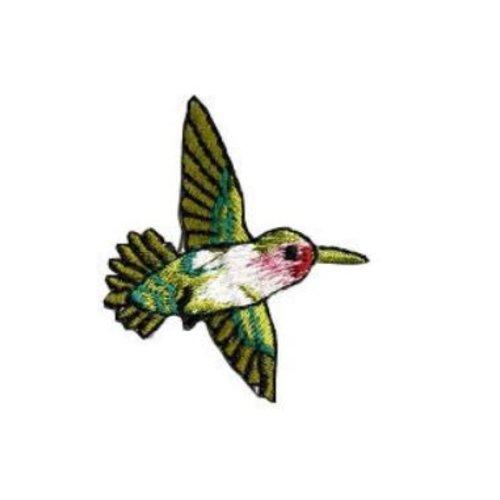 Appliqué, à coller, de petit colibri, vert blanc et rose, 4.4/4.5 cm, brodé, vente à la pièce