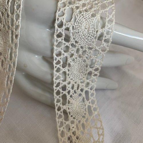 Nouveau : dentelle entre-deux, en coton, tissée en france, large de 30 mm, délicate et solide, vendue au mètre