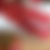 Noël : ruban gros grain, bonhomme pain d'épices, gingerbread, 16 mm de large, rouge et noisette, au mètre