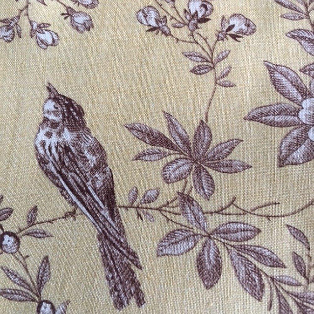 Tissu en coton, patchwork, thème des oiseaux, style toile de Jouy, couleur ambre, motifs marron clair, 53/45 cm, neuf