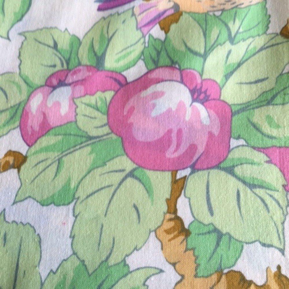 Tissu patchwork en coton, fond blanc, grands oiseaux mauve dans les fruits oranges et roses, neuf, 55/45 cm