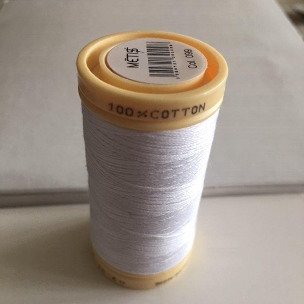 Fil à coudre, en coton, 500 mètres, blanc, Médiac Métis, made in France, vente à la bobine
