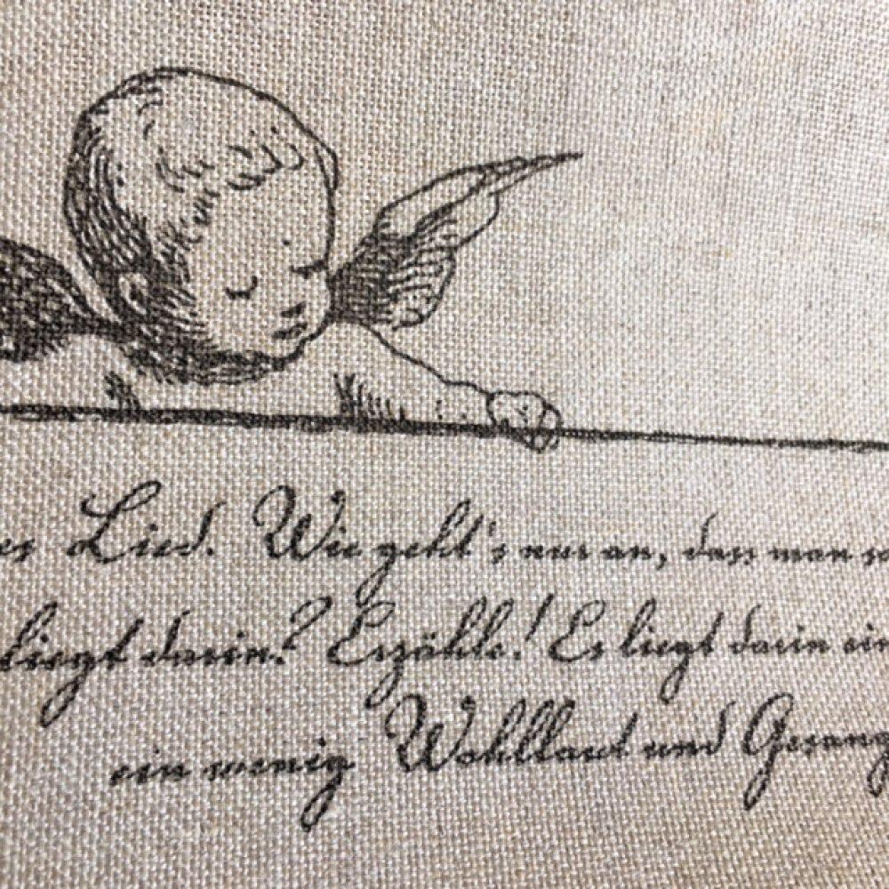 Bande à broder, en lin, avec un ange et des paroles douces, 24.5 cm de large, par multiple de 36 cm de haut,