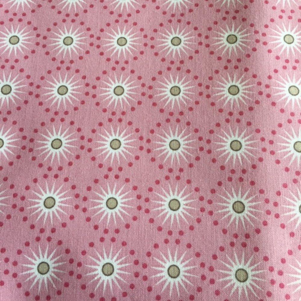 Tissu en coton, rose, avec des formes rondes à pois fuchsia, en étoile au centre, doux et léger, vente par 50 cm/140 cm