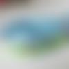 Ruban avec des oiseaux, fond bleu clair, vert anis et marron, large de 1.8 cm, vente au mètre