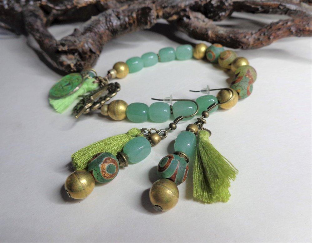 Parure aventurine et agates dzi, collier+boucles d'oreille+bracelet, vert, pierres gemmes, laiton doré, boho hic/ethnique