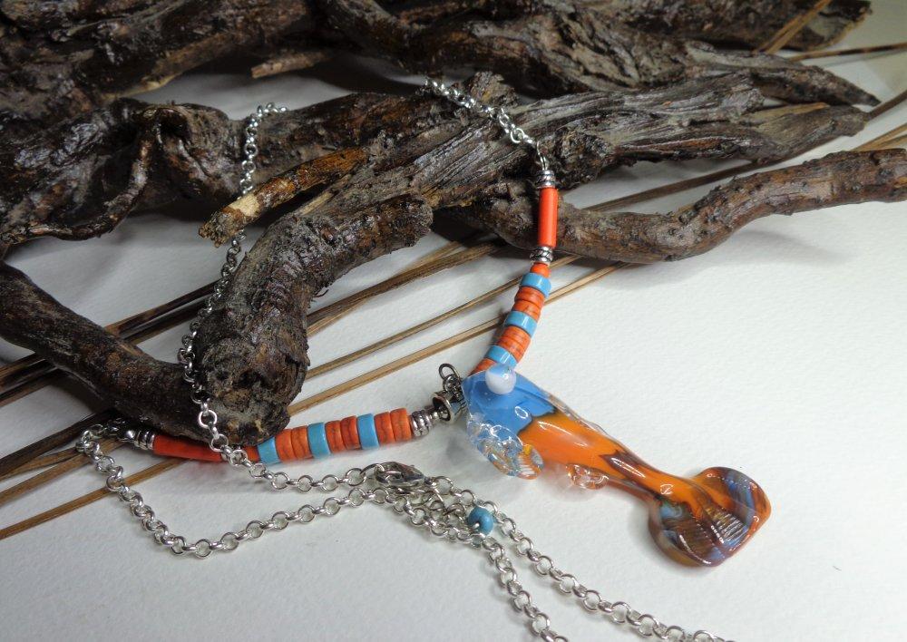 Collier pendentif poisson verre Murano filé au chalumeau, bleu et orange, délicat collier boho chic, mi-long, collier lampwork