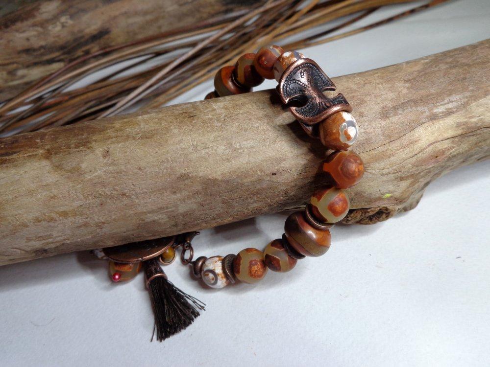 Bracelet ethnique perles tibétaines agates DZI, breloque arbre de vie, bracelet rustique, bracelet gemmes, marron/blanc