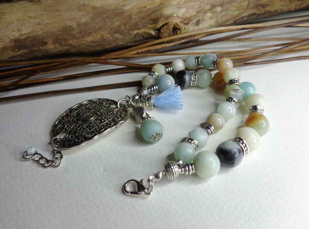 Elégant bracelet bohème 2 rangs en amazonite multicolore naturelle, beau connecteur argent tibétain, bracelet gemmes, boho chic