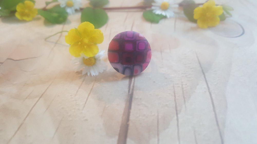 Bague adulte mosaïque violette FIMO
