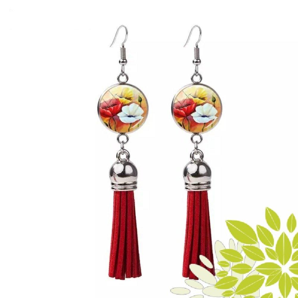 Boucle d'oreille cabochon de fleur et son pompon suédine rouge