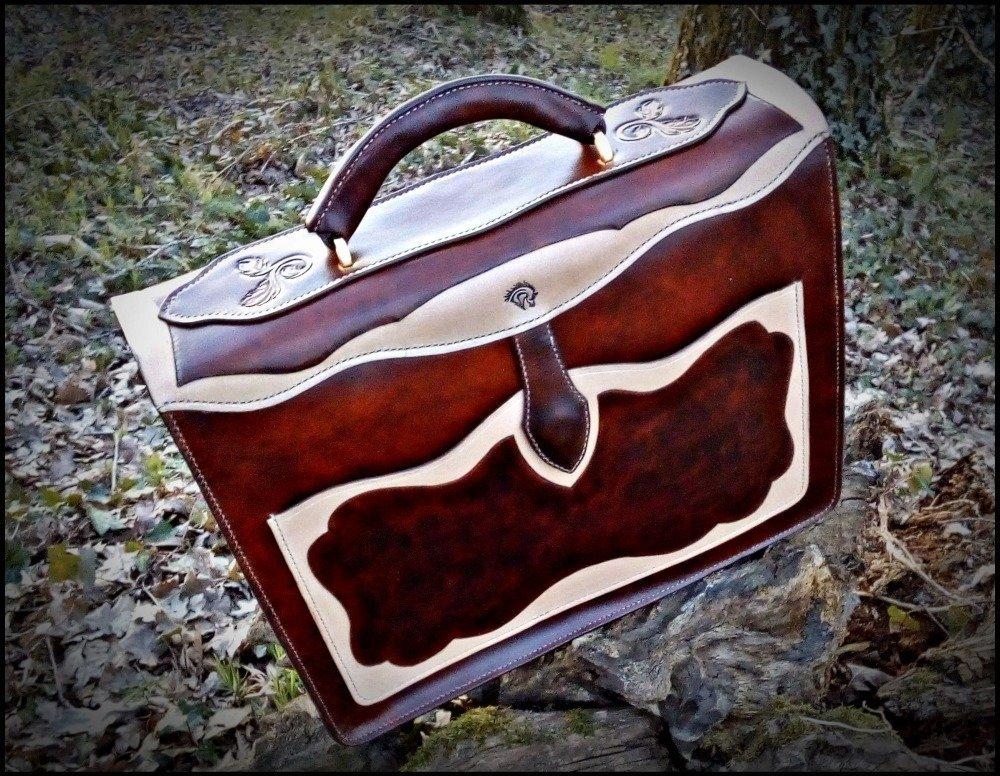 cartable serviette  cuir  artisanal  fait main