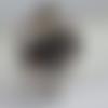 Bague noire et blanche avec perles swarovsky