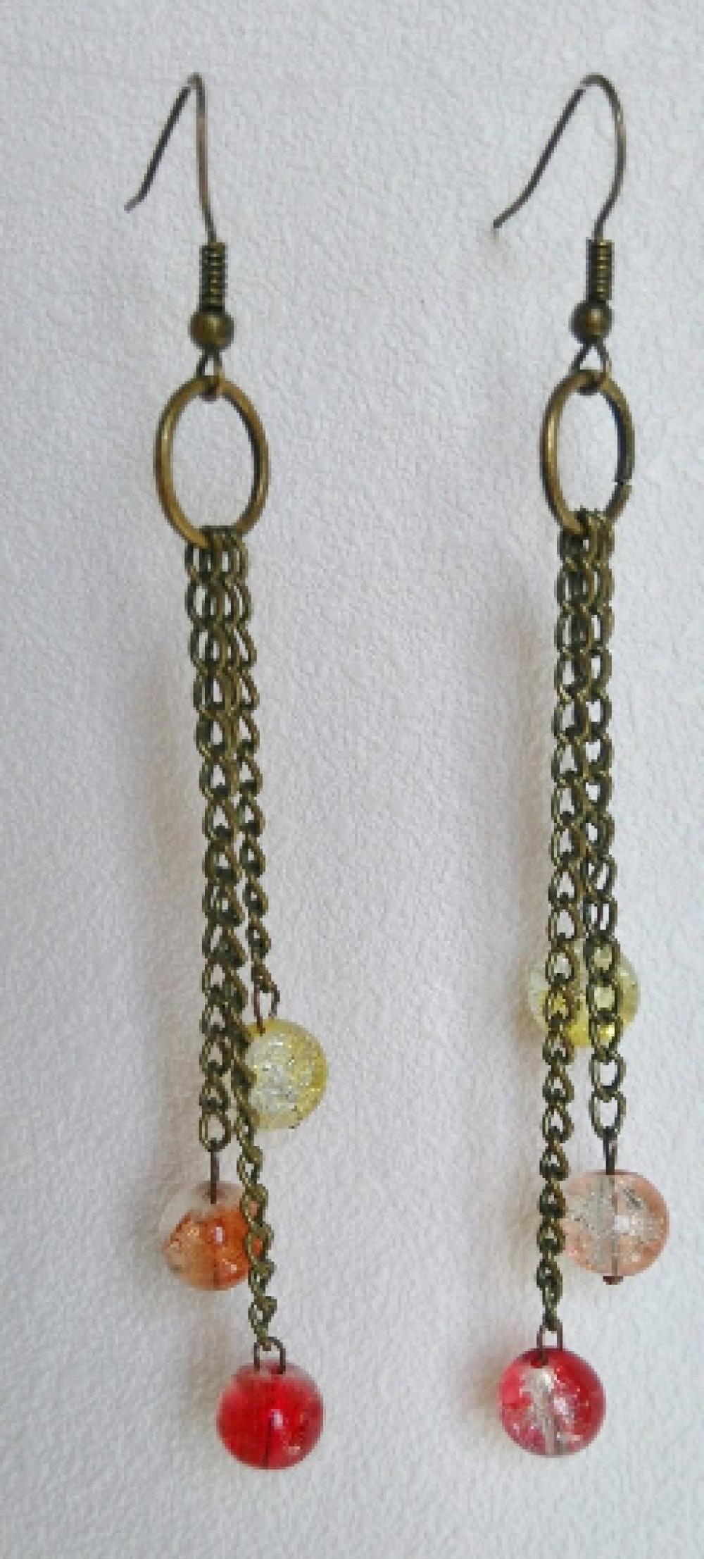 Boucles d'oreille bronze et chainettes avec perles