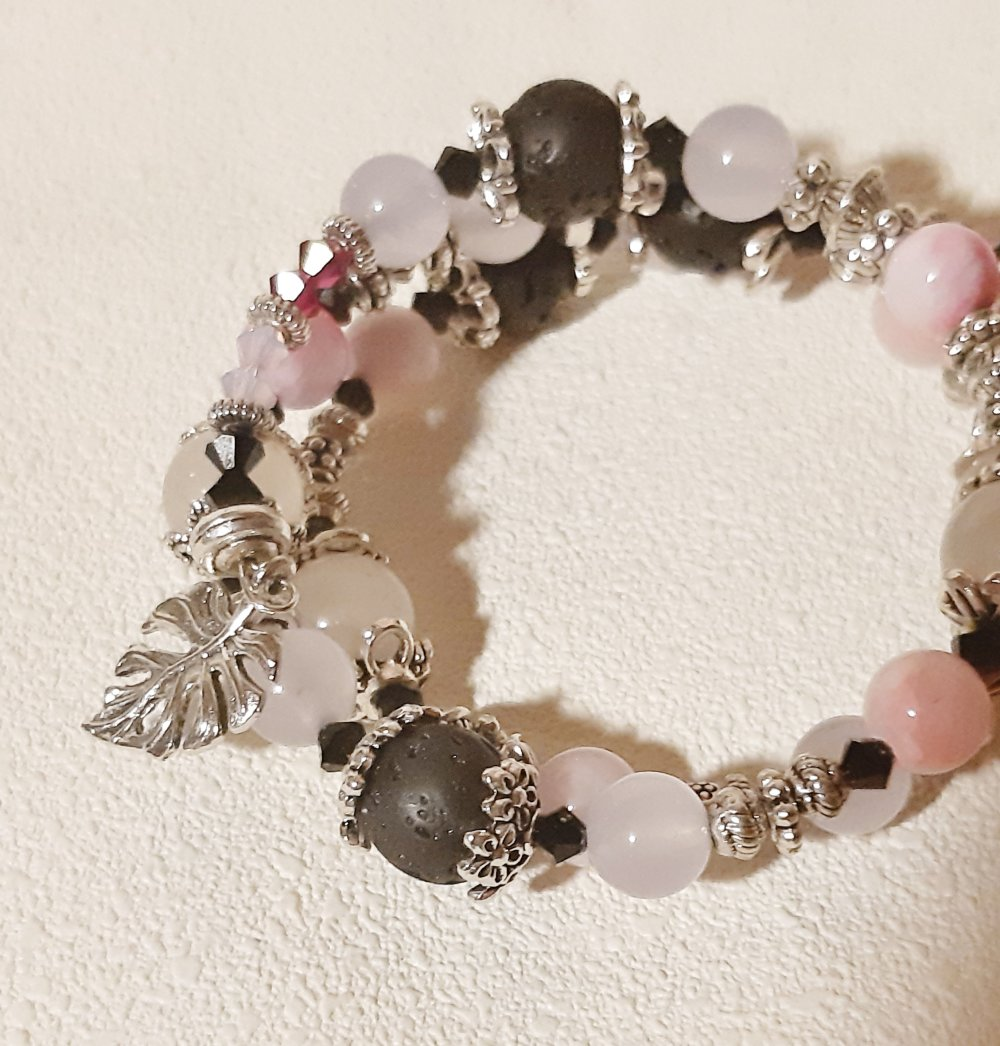 Bracelet fil à mémoire avec perles naturelles