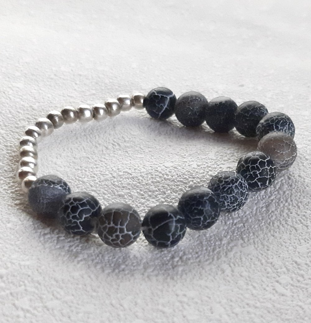 Bracelet élastique perles naturelles agates givrées craquelées noires
